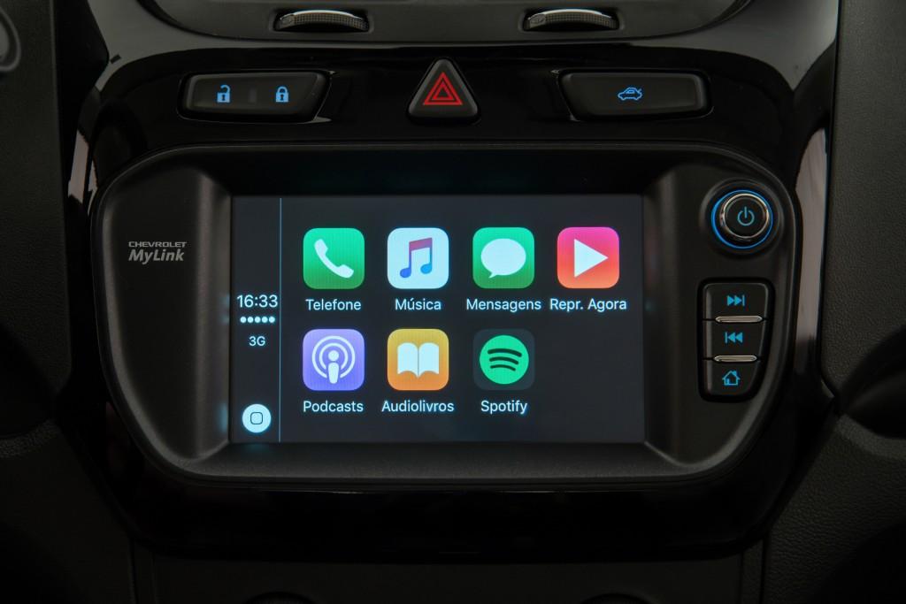 Projeção na tela do MyLink do sistema CarPlay, da Apple