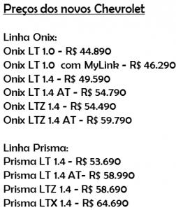 Tabela Onix e Prisma