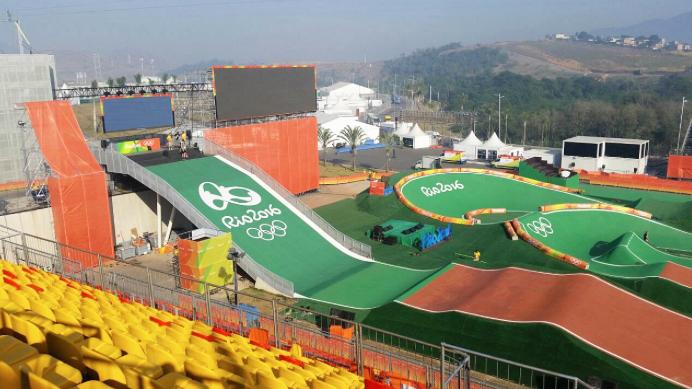 Pista BMX supercross na Rio 2016, onde acontecem as provas finais nesta sexta