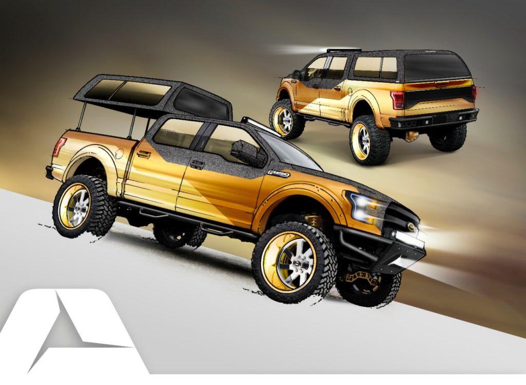 A XLT Supercab, da preparadora A.R.E. Accessories, é uma versão radicalmente modificada da picape campeã de vendas dos Estados Unidos. Traz visual dourado com detalhes em preto e cobertura customizada da caçamba, com sistema automático de abertura e fechamento, para maior proteção da carga. Vem com motor EcoBoost 3.5 e rodas personalizadas de 24 por 12 polegadas.