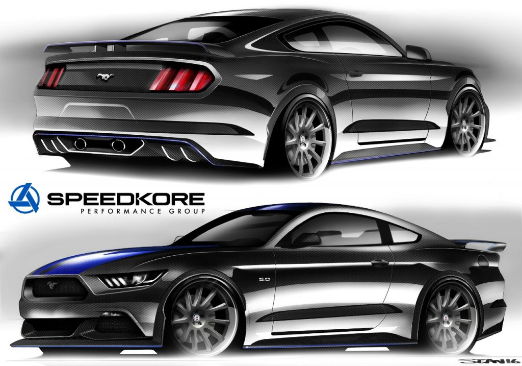 O Mustang GT Concept, criado pela preparadora Speedkore, chama atenção por sua tecnologia e refinamento, além da ousada pintura em preto e azul. Possui motor V8 5.0 com supercharger de 825 cavalos e carroceria em fibra de carbono, com interior inspirado em carros de corrida que garante ainda mais esportividade ao ícone da Ford.