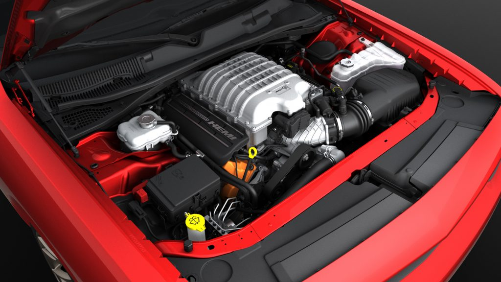Supercharged 6.2-liter HEMI® Hellcat V-8 engine produces 707 horsepower and 650 lb.-ft. of torque