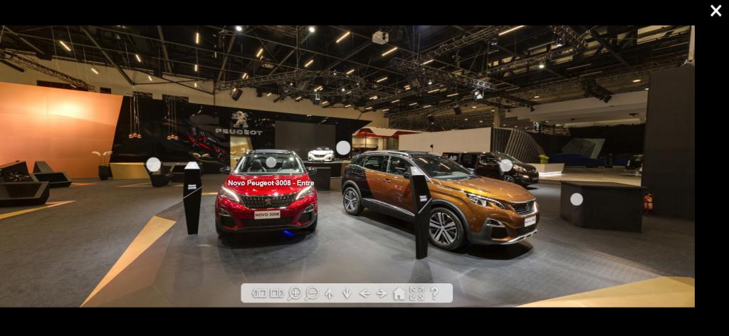 Peugeot oferece a tecnologia do tour virtual para mostrar seu estande aos clientes que não puderam comparecer ao salão
