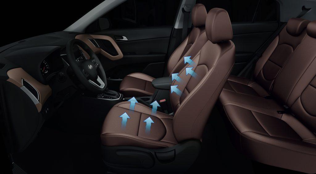 Um dos diferenciais do Hyundai Creta em relação aos concorrentes é o sistema de ventilação do banco do motorista