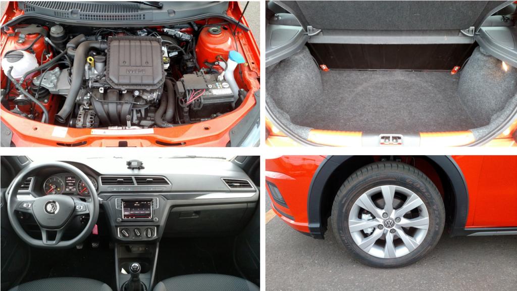 O motor 1.0 flex de três cilindros equilibra bem consumo e performance; Como nas outras versões, tem o providencial suporte para celular no alto do painel