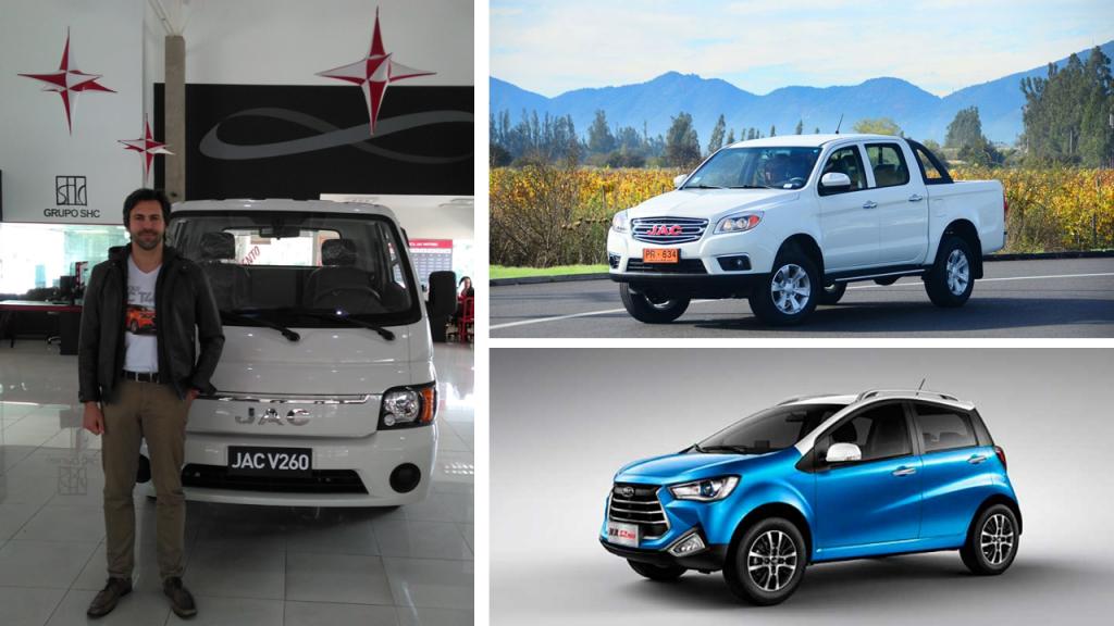 Nicolas Habib e os prováveis modelos a serem vendidos pela Jac no Brasil: a T6 Pick-up e o compacto T20
